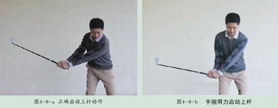 手腕用力启动上杆 1、手腕用力启动上杆 在球友与球手中,手腕用力启动上杆很常见。导致手腕用力启动上杆的原因很简单,就是肩部没有主动旋转。 我们平时瞄准一个物体时,往往是身体的正面对着目标,但定位瞄准却是身体侧面对着目标,与平时的习惯大不一样。因此,我们的可感到很别扭,身体则处在非自然状态,身体的某些部位自然就会紧张。在日常生活中,我们的手完成大部分工作。在没有真正掌握正确的挥杆顺序之前,手腕必然过多用力,从而取代或部分取代了肩部的旋转。手腕用力启动上杆时,挥杆的动作顺序首先被破坏。 练习时,若长时间靠手
